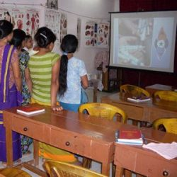 Girls at school in Assam watch a lesson on DVD